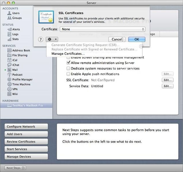 Apple OS X Server 10.7 (Lion) en 10.8 (Mountain Lion) - Aanmaken CSR